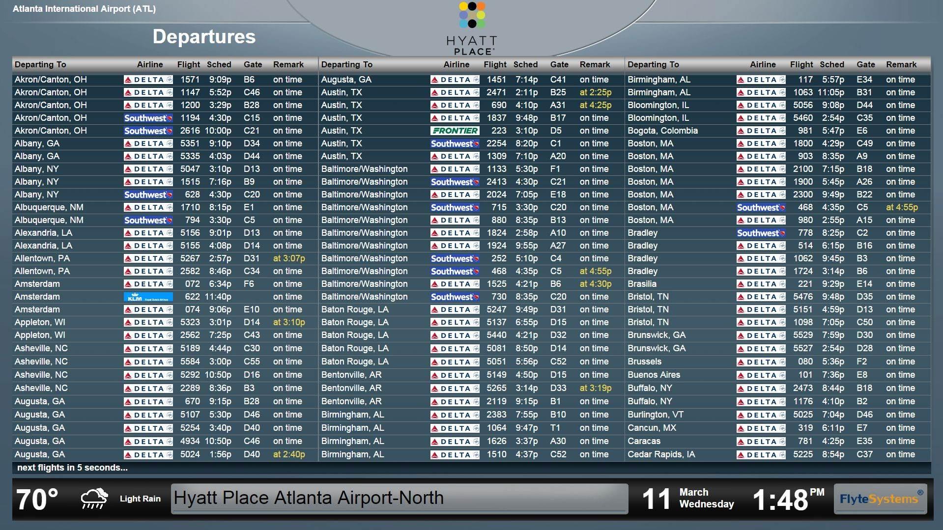 Hyatt Place Atlanta Airport North Gets Travel-Savvy with FlyteBoard Hotel Flight Information Display