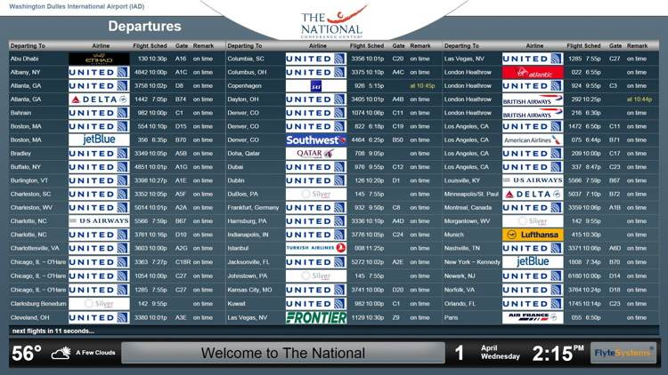 National Conference Center Guests Grab Glance-and-Go Airline Information from Flyte Systems